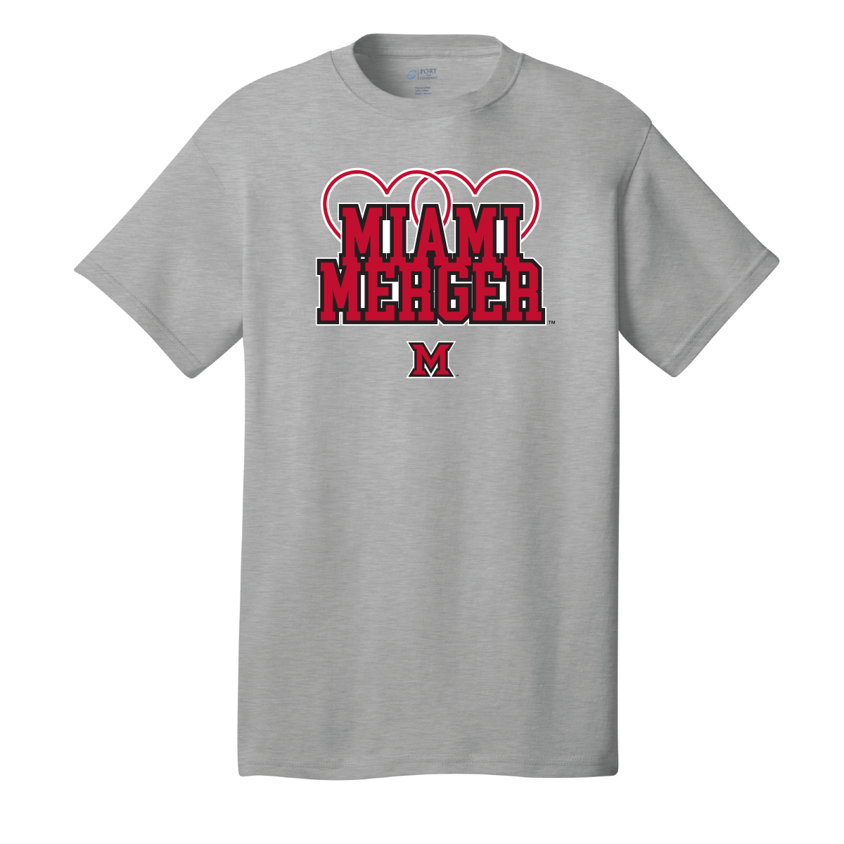 MIAMI UNIVERSITY Redhawks Miami Merger Customized Heart Rings Crewneck Tee