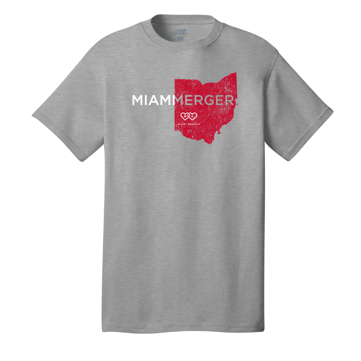 MIAMI UNIVERSITY Redhawks Miami Merger Red Ohio Distressed Crewneck Tee
