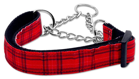 Plaid Nylon Collar  Martingale Red Large