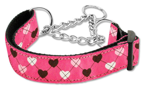 Argyle Hearts Nylon Ribbon Collar Martingale Bright Pink
