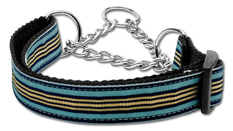 Preppy Stripes Nylon Ribbon Collars Martingale Light Blue/Khaki Large