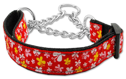 Butterfly Nylon Ribbon Collar Martingale Red