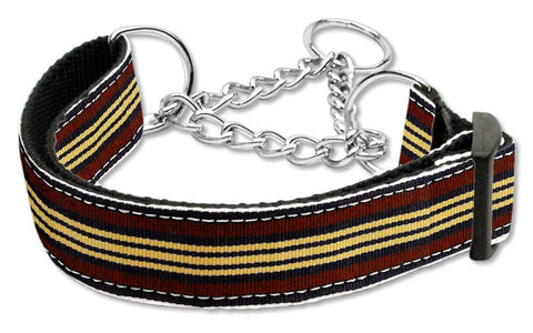 Preppy Stripes Nylon Ribbon Collars Martingale Brown/Khaki Large
