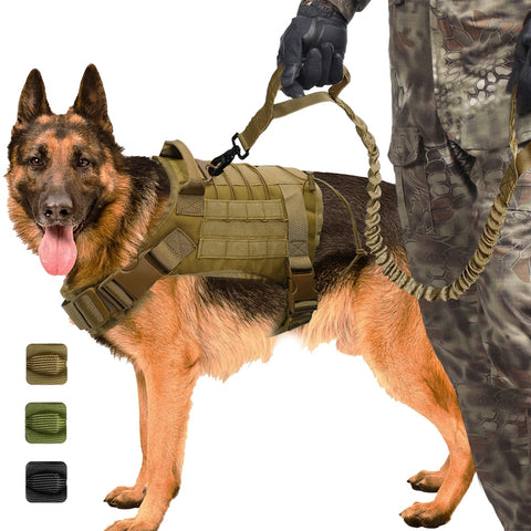 Military Tactical Dog Harness for Working Dogs , Nylon Bungee Leash Lead For Medium Large Dogs