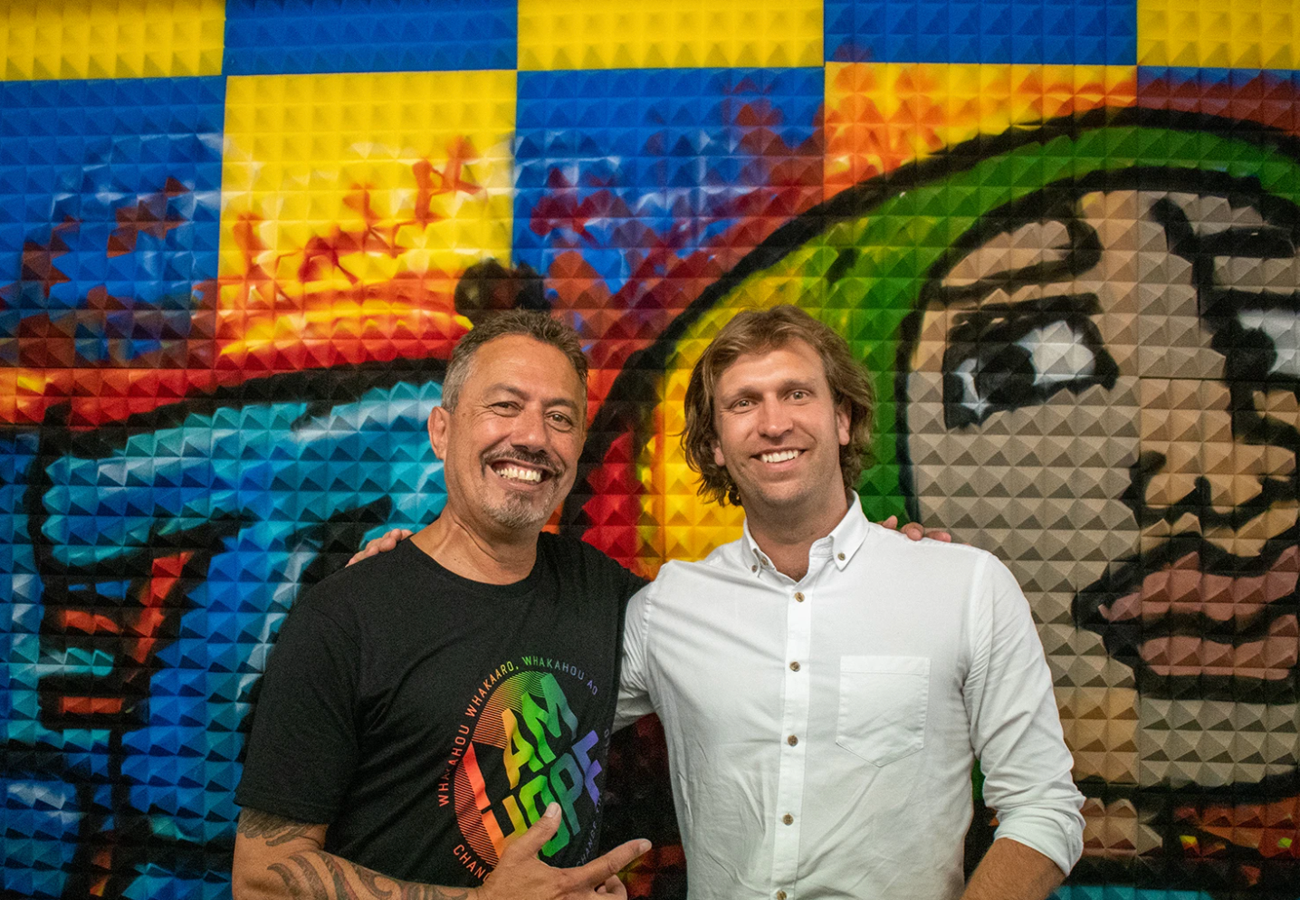 Founder of The Key to Life Charitable Trust, Mike King with Innocent Packaging General Manager Fraser Hanson, at the opening of Struggle Street Studio in December 2020