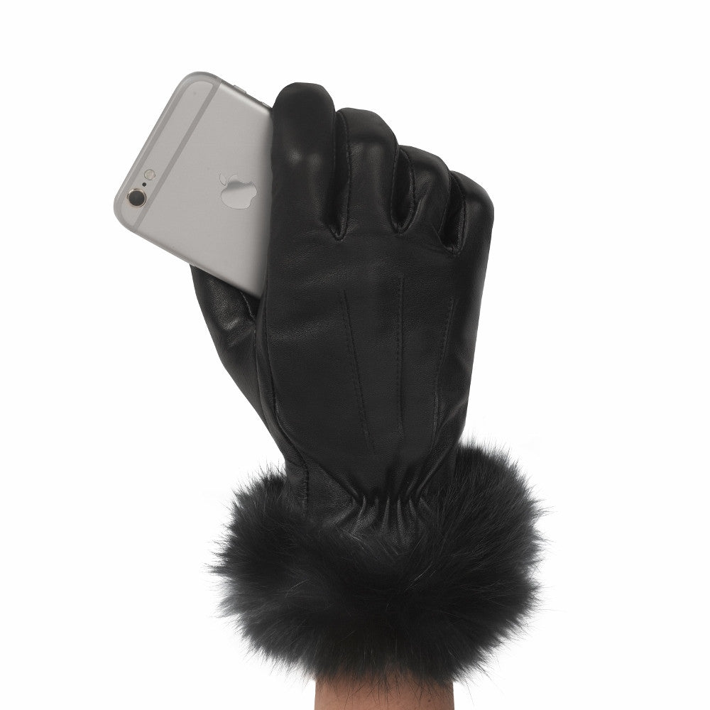 Womens leather touchscreen gloves - Women S Rabbit Cuff Leather Touch Screen Glove