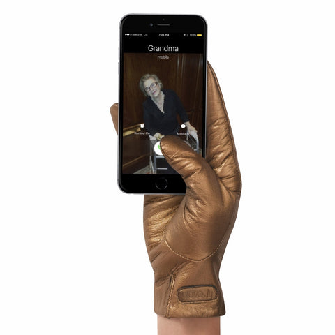 Metallic Leather Touch Screen Gloves
