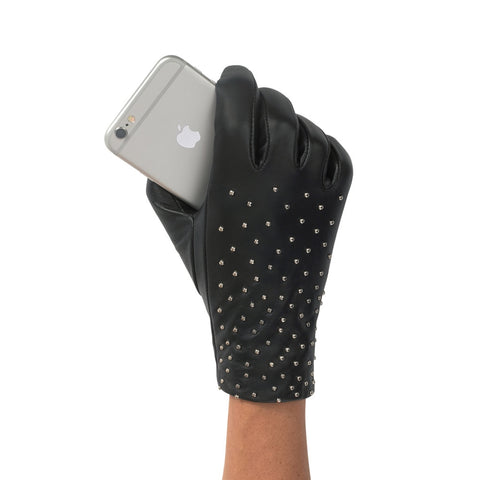Studded Leather Touchscreen Gloves