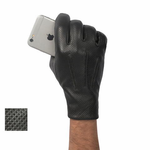 Perforated Leather Touch Gloves