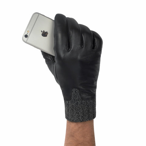 Retro Knit Leather Cuff Touch Screen Gloves