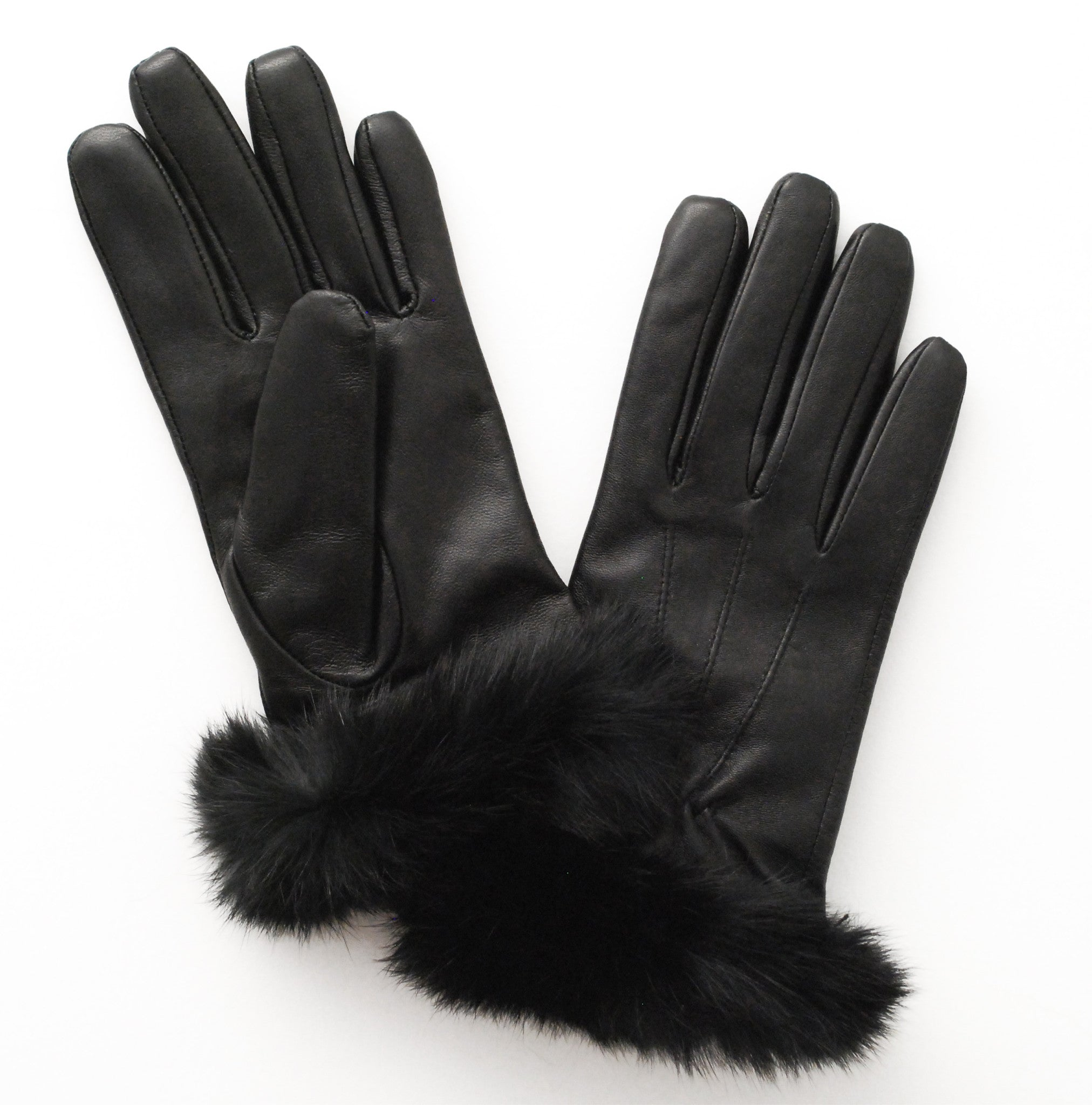 Womens leather touchscreen gloves -  Women S Rabbit Cuff Leather Touch Screen Glove Black