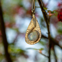 Tear drop glass cabochon glass pendant