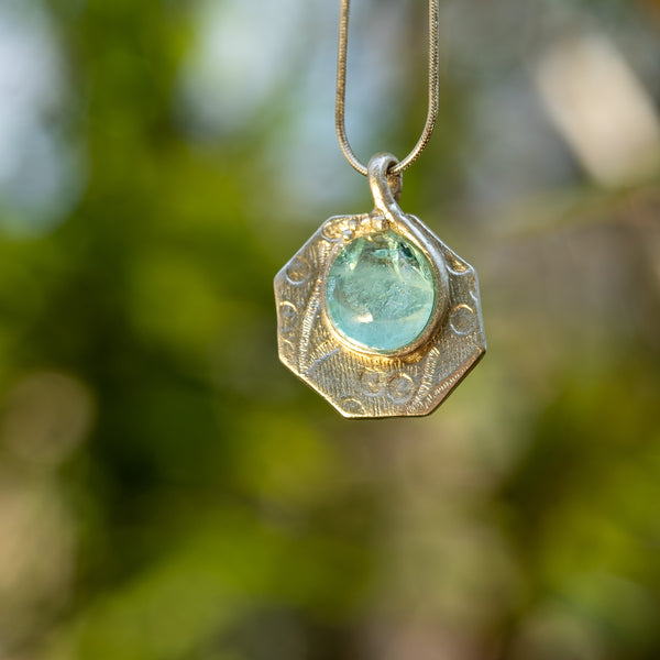 Hexagon fine silver and dichroic glass cabachon pendant