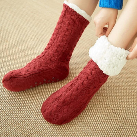 Cozies Ultra Fluffy Red Socks