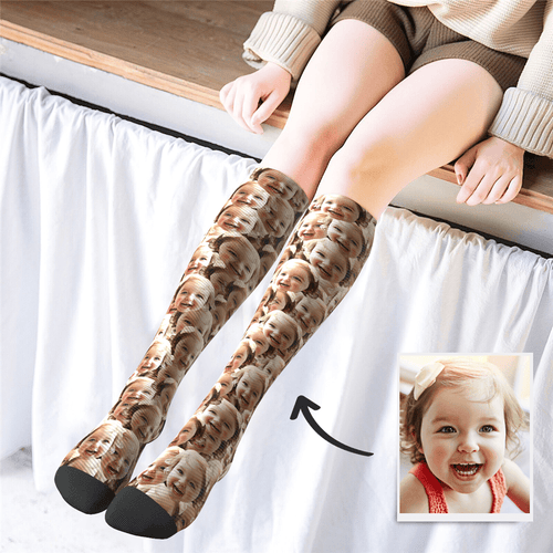 Custom Knee High Photo Socks Face Mash - MyPhotoSocks