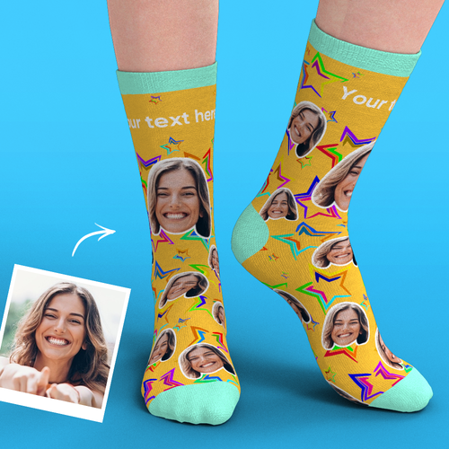 Custom Face Socks Add Pictures-Stars
