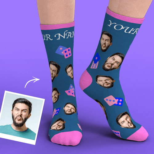 Custom Face Socks Add Pictures-Dice