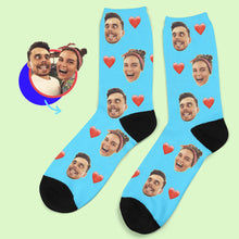 Custom Photo Heart Socks With Your Text