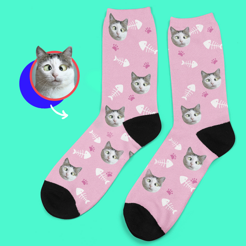 Custom Lovely Cat Photo Socks With Your Text - MyPhotoSocks