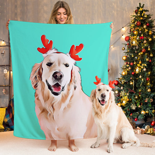 Custom Dog Blankets Personalized  Pet Photo Fleece Soft Blanket Painted Art Portrait