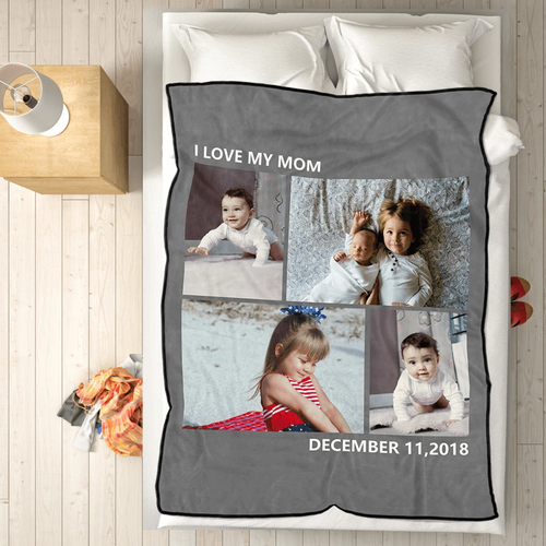 Kids Personalized with 4 Photos Fleece Custom Blanket