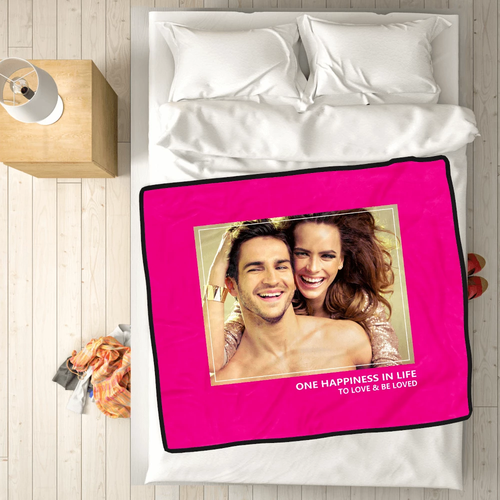 Personalized Love with 1 Photo Fleece Custom Blanket