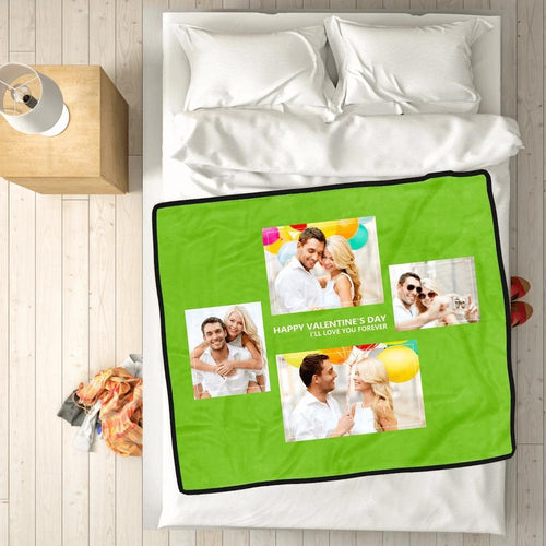 Personalized Perfect Love with 4 Photos Fleece Custom Blanket