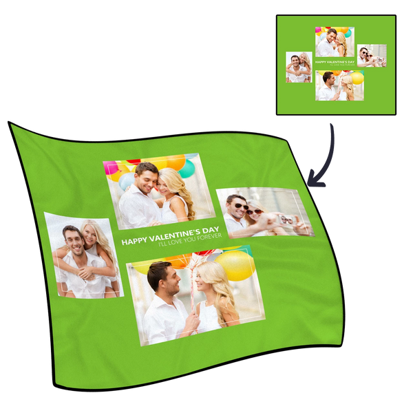 Personalized Perfect Love with 4 Photos Fleece Custom Blanket - MyPhotoSocks