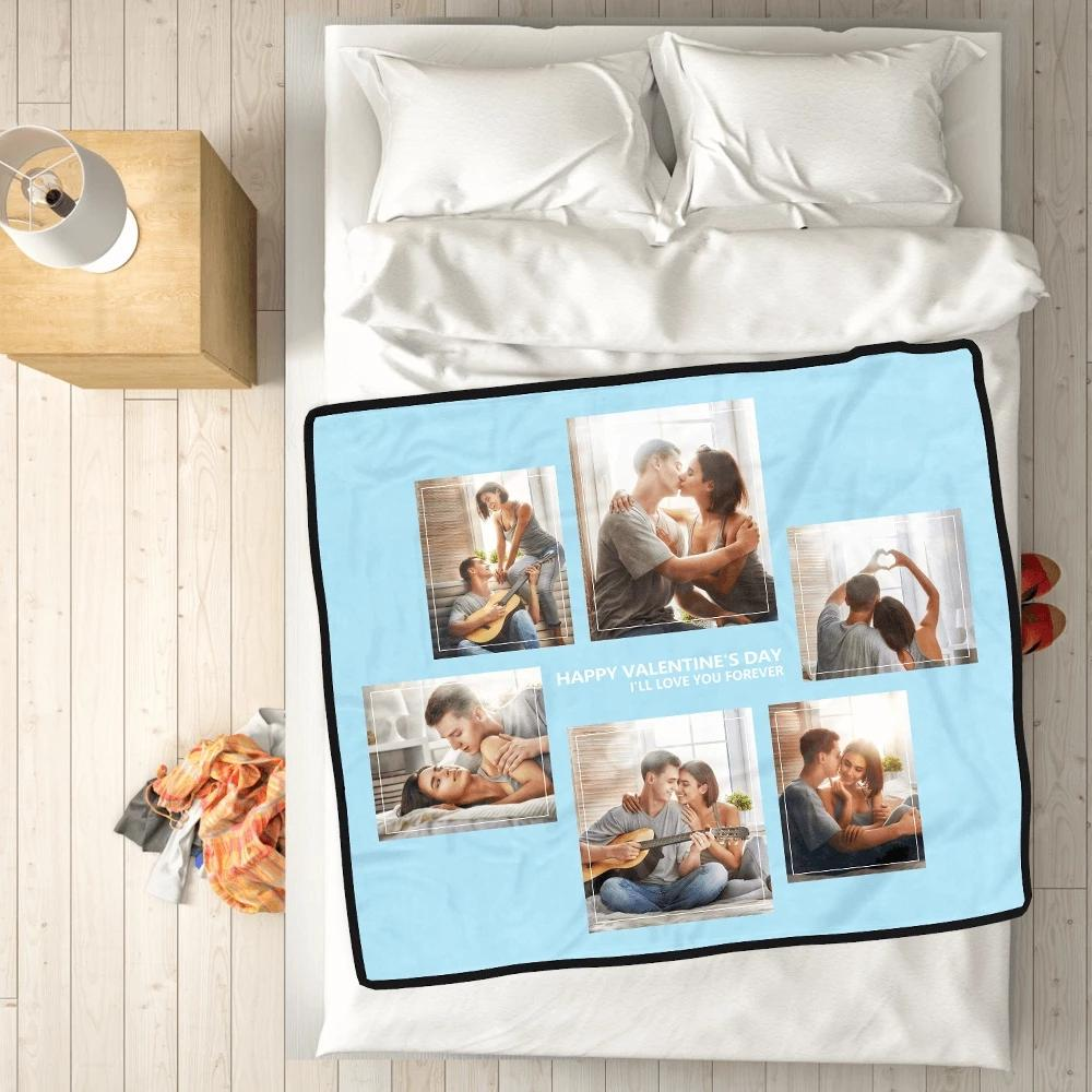Personalized Perfect Love with 6 Photos Fleece Custom Blanket - MyPhotoSocks