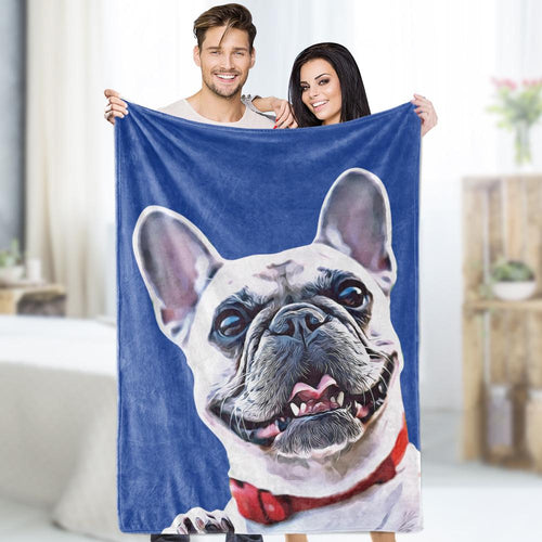 Custom Dog Photo Blankets Personalized  Pet Fleece Personalized Blanket Painted Art Portrait