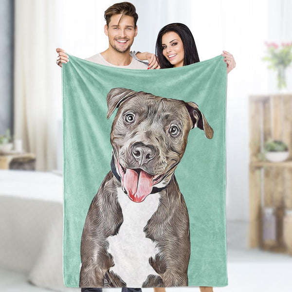 Custom Dog Comics Blankets Personalized  Pet Fleece Blanket Painted Art Portrait