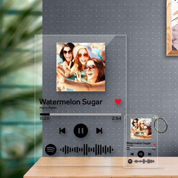 Personalized Spotify Code Music Plaque(4.7in x 7.1in) With A Free Same Keychain(2.1in x 3.4in)