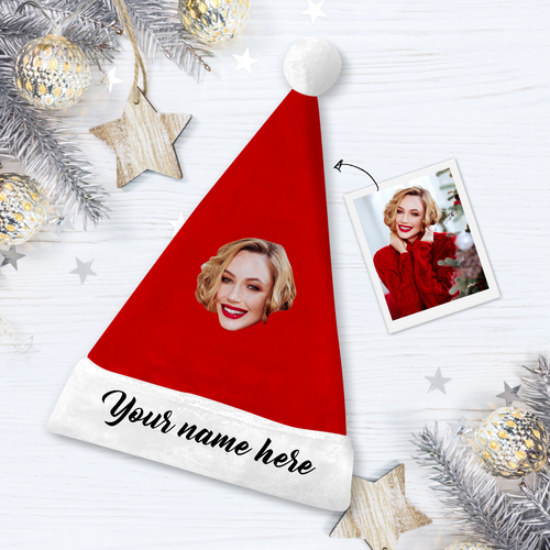 Custom Photo Santa Hat With Your Text - MyPhotoSocks