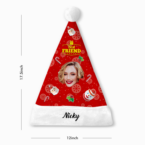 Custom Best Friends Photo Santa Hat With Your Text - MyPhotoSocks