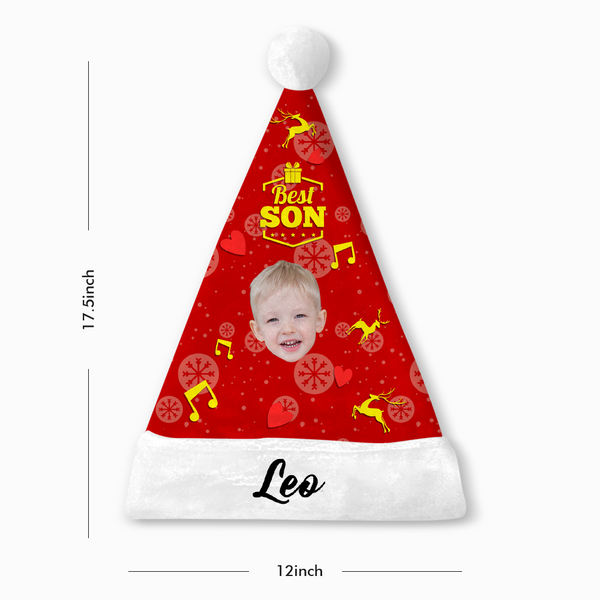 Custom Best Son Photo Santa Hat With Your Text - MyPhotoSocks