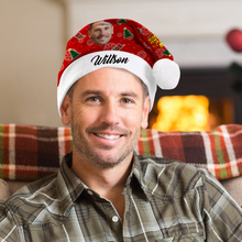Custom Best Grandfather Photo Santa Hat With Your Text - MyPhotoSocks
