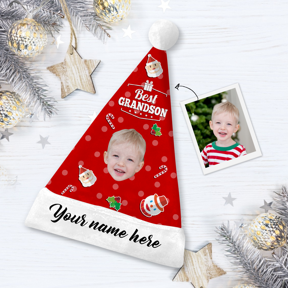 Custom Best Grandson Photo Santa Hat With Your Text - MyPhotoSocks