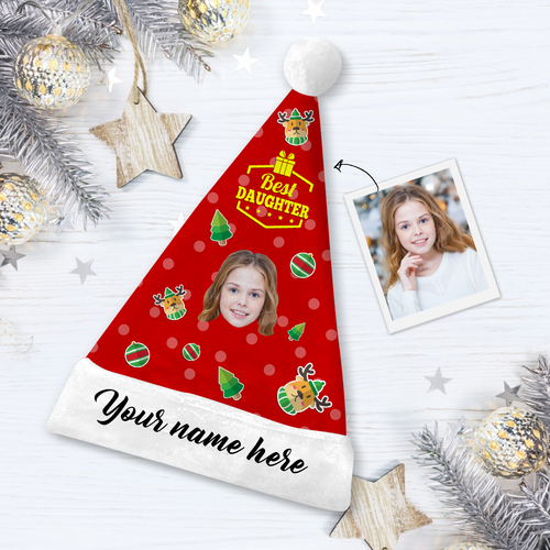 Custom Best Daughter Photo Santa Hat With Your Text - MyPhotoSocks