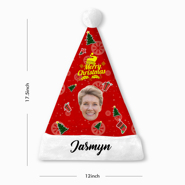 Custom Photo Santa Hat Merry Christmas With Your Text - MyPhotoSocks