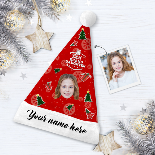 Custom Best Granddaughter Photo Santa Hat With Your Text - MyPhotoSocks