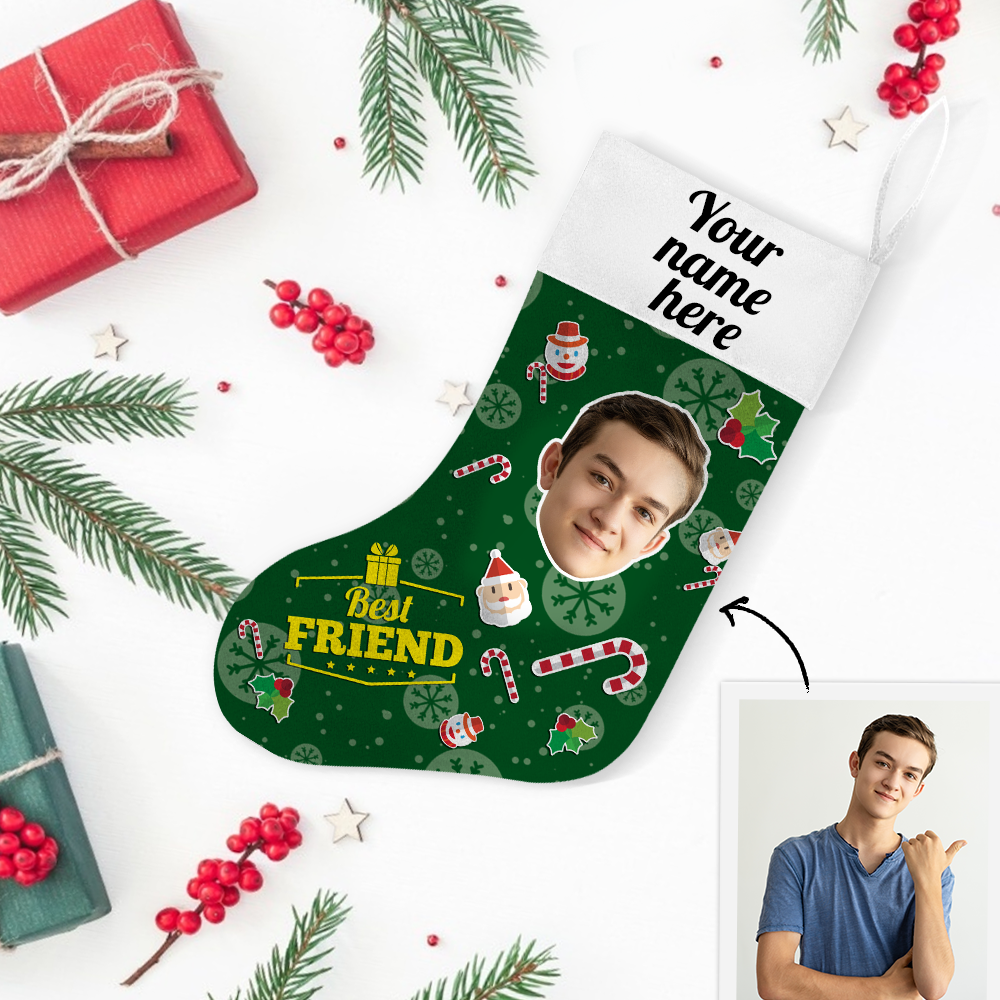 Custom Photo Christmas Stocking Best Friends With Your Text - MyPhotoSocks