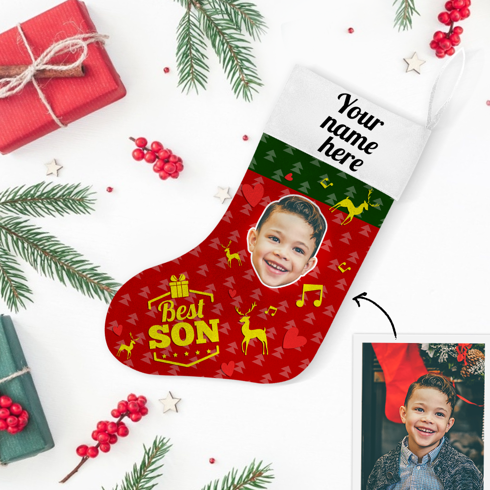 Custom Photo Christmas Stocking Best Son With Your Text