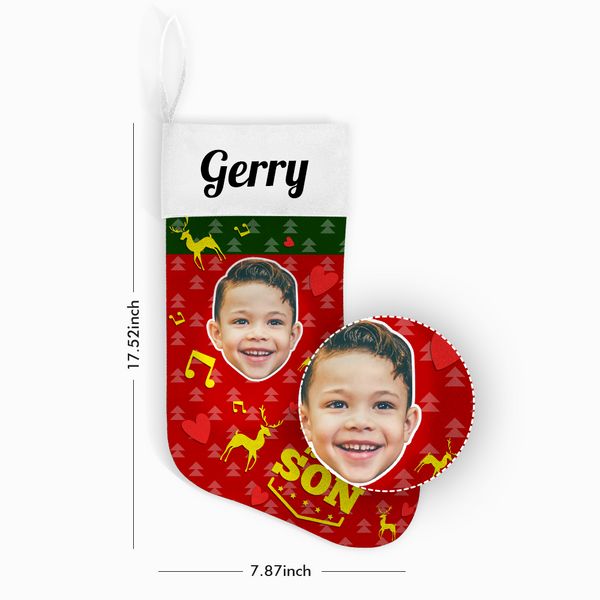 Custom Photo Christmas Stocking Best Son With Your Text - MyPhotoSocks