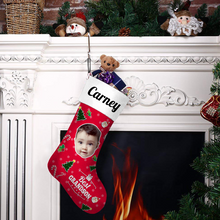Custom Photo Christmas Stocking Best Grandson With Your Text - MyPhotoSocks