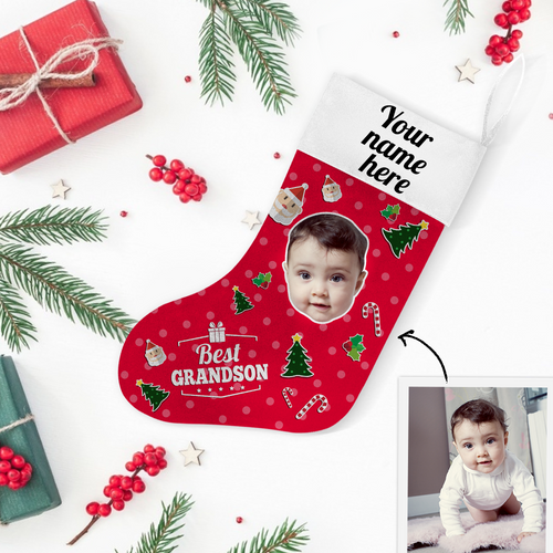 Custom Photo Christmas Stocking Best Grandson With Your Text