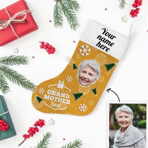 Custom Photo Christmas Stocking Best Grand Mother With Your Text