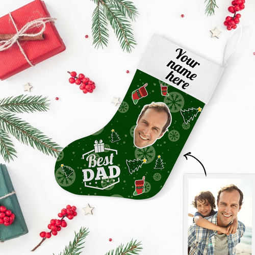 Custom Photo Christmas Stocking Best Dad With Your Text