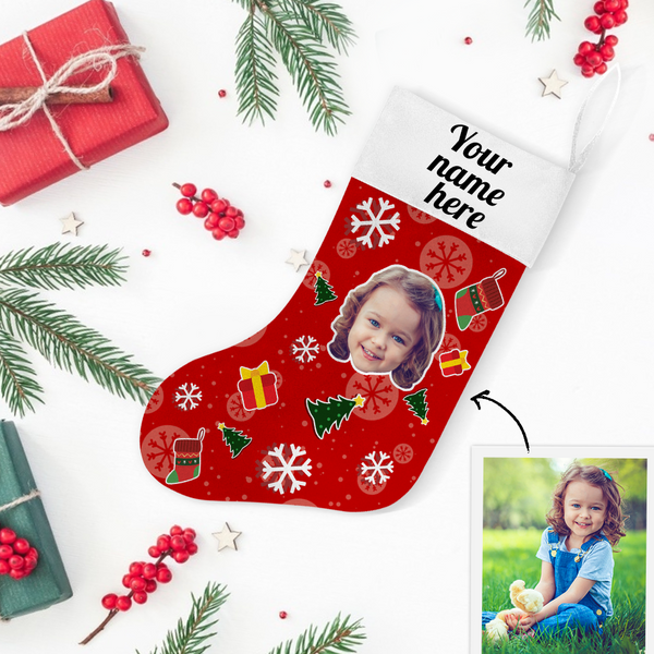 Custom Photo Christmas Stocking Tree Hero With Your Text - MyPhotoSocks