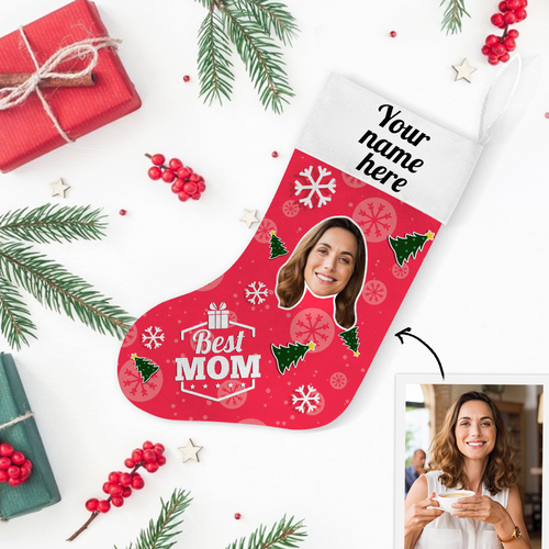 Custom Photo Christmas Stocking Best MOM With Your Text