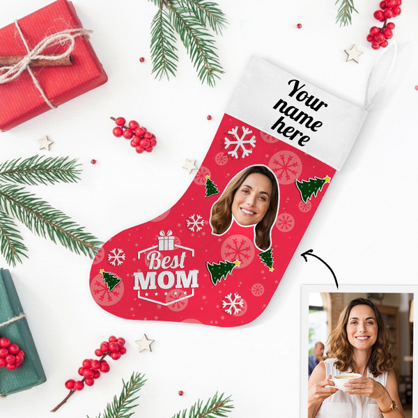 Custom Photo Christmas Stocking Best MOM With Your Text - MyPhotoSocks